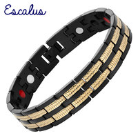 2015 Men 4in1 Magnets Negative Ions Germanium Far Infar Red Stainless Bracelet Black Gold Bangle Free