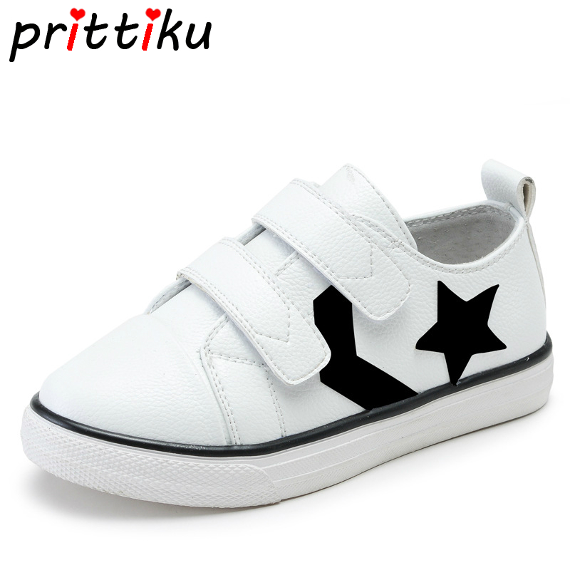 2018 Toddler Boy Girl Classic White Star Skate Sneakers Little Kid Real Genuine Leather Trainers Big Children School Sport Shoes