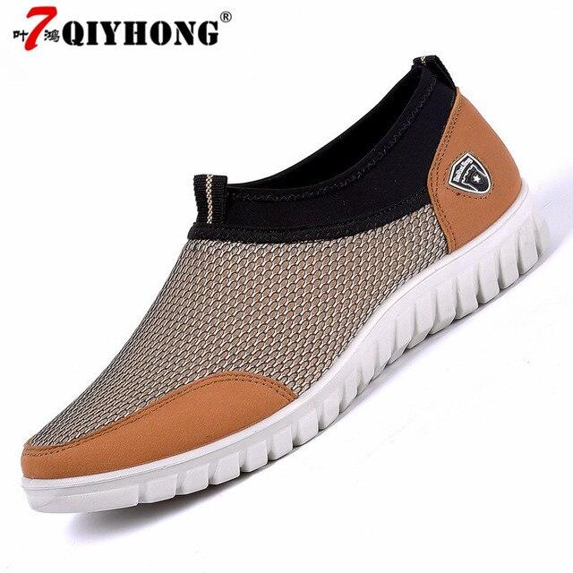 Tênis Calçados Casuais dos homens de Malha de Verão Homens Respiráveis Confortáveis Sapatos Mocassins calçados Andando Tamanho Grande 38-48 Slipon