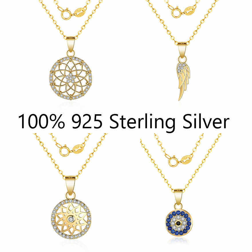 Fabulous 100% Real 925 Sterling Silver Dream Catcher Lotus Feather Charm Pendant Necklace for Women Female Wholesale