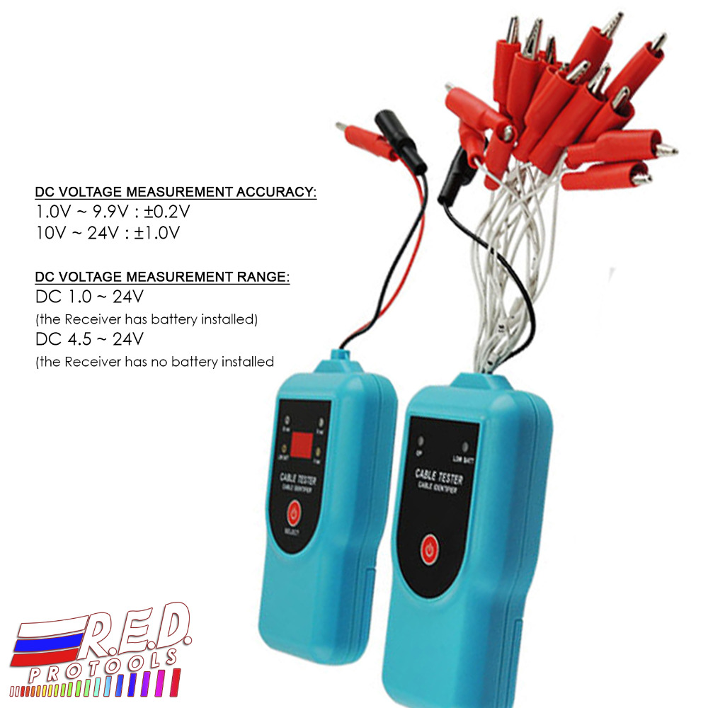 Transmitter & Receiver Cable Tester Identifier Alligator Clip Test DC Voltage Continuity все цены