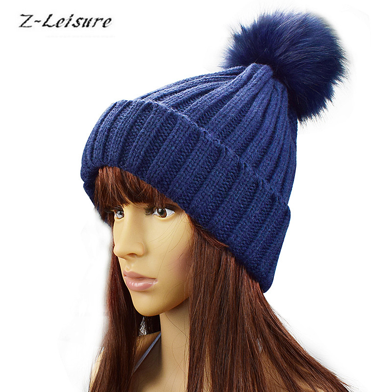 Winter Autumn Female Skullies & Beanies  Hat Women Knitted Casual Cap Faux Fox Fur Pompom Hats WKC002 skullies
