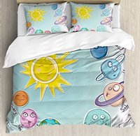 Space Duvet Cover Set Cute Cartoon Sun and Planets of Solar System Fun Celestial Chart Baby Kids Nursery Theme Multi