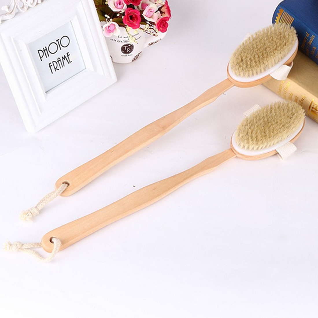 42cm Long Wooden Handle Natural Bristles Scrubber Spa Shower Brush Bath Body Massage Brushes Skin Cleaning for Dry Brush Shower