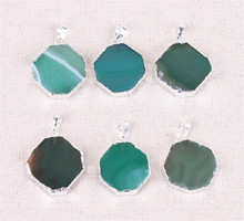 1pc Natural Stone Green Slice Agates Quartz Opal Pendants Handmade Color Crystal Pendant Necklace