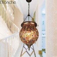 Turkish Bohemia Pendant Lights Stained Glass Lamp Light Moroccan Hanglamp Luminaire Corridor Stair Restaurant Industrial Decor