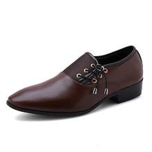 Men Formal Shoe Flats Oxford Shoes For Oxfords Pointed Toe Lace Up Split Leather Dress Business Plus Size 38-48 QX5