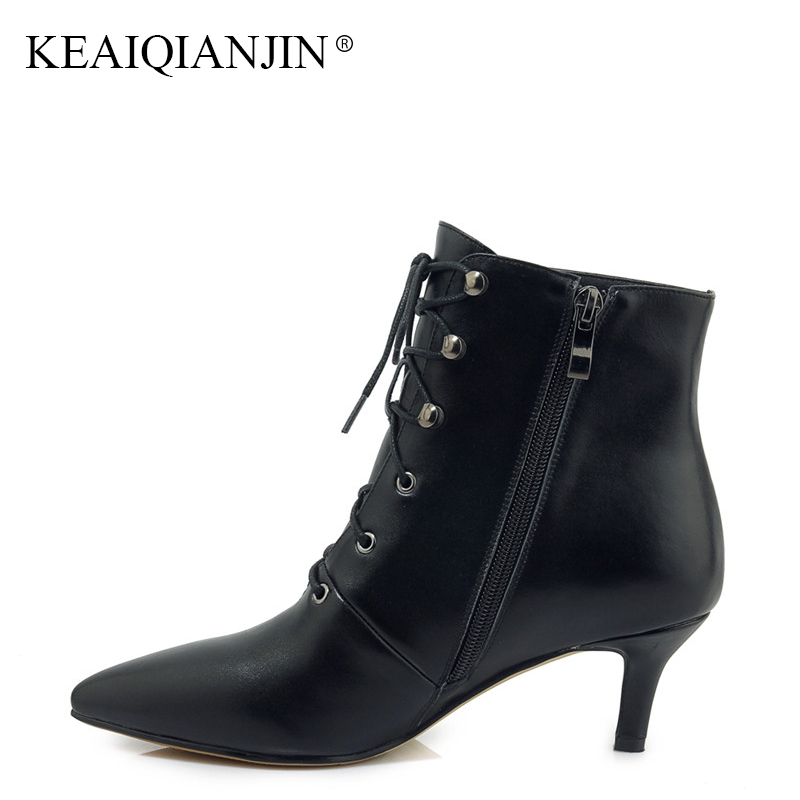 KEAIQIANJIN Woman Genuine Leather Plus Size 33 Ankle Boots Autumn Winter Black High Heeled Shoes Metal Decoration Martin Boots keaiqianjin woman rivet motorcycle boots autumn winter bottine plus size 33 43 shoes black red genuine leather ankle boots