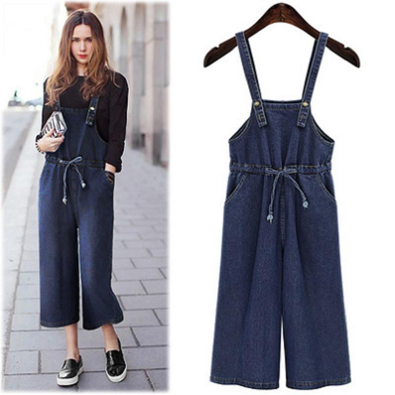 Top Quality Blue Vintage Plus Size Jeans Jumpsuit Women Suspender