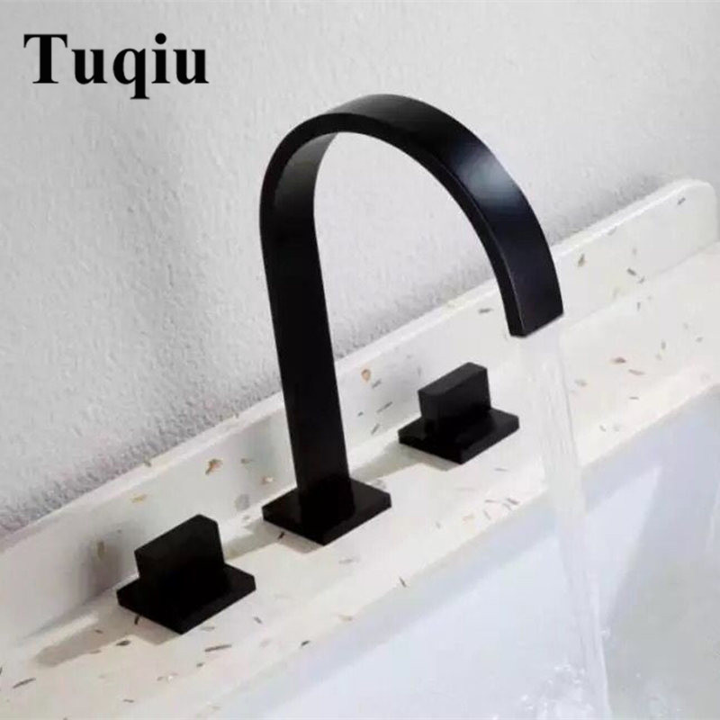 Bathroom Basin Faucet Brass Black Gold Chrome Deck Mounted Square Sink Mixer Faucet 3 Hole Double