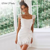 WildPinky Summer Lace Dresses Women Sexy Sleeveless Slim Cotton Backless Bow Tie White Lace Embroidery Ruffles Dress Vestidos