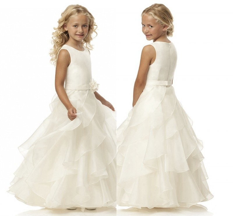 2018 Sleeveless Flower Girl Dresses White/Ivory Real Party Communion Dress Little Girls Kids/Children Dress for Wedding Gown