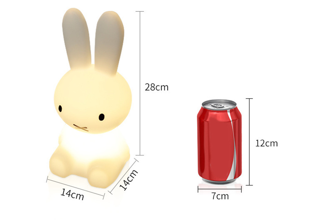 SuperNight Cartoon Rabbit LED Night Light Dimmable Rechargeable Touch Sensor Bedroom Bedside Table Lamp for Baby Kids Toy Gift (35)