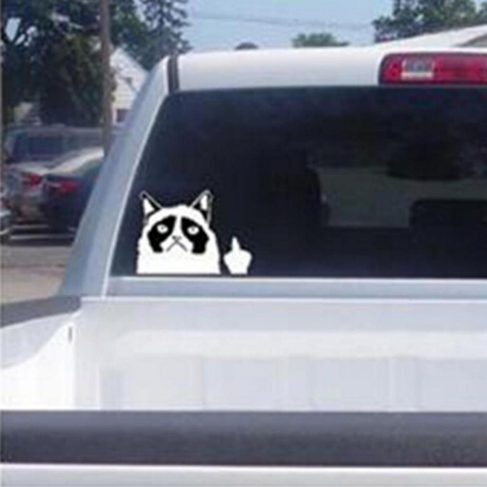 1 Pcs New Cute Car Decal Sticker Cut Grumpy Cat Claw Nail Middle Finger Flipping Off cute car sticker automobiles car-styling недорго, оригинальная цена