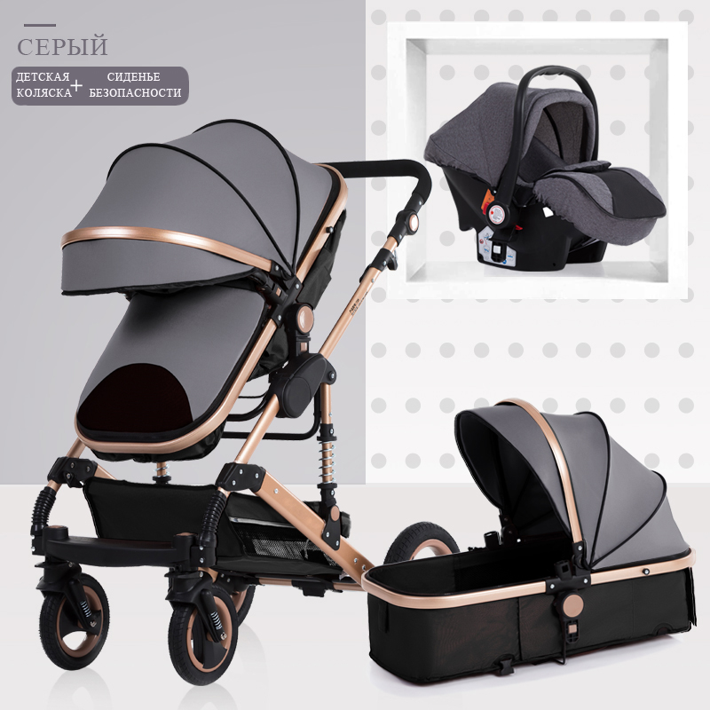 High Landscape Baby Stroller 3 In 1 Luxury Travel Pram Carriage Basket Baby Car Seat And Stroller Gold Baby  Newborn Strollers