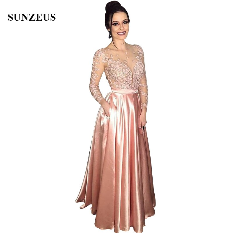 illusion sexy women party gowns sheer long sleeves floor