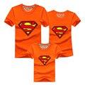 2016 Мода Супермен Семьи Футболку Мальчики Девочки Родители Одежда Высокое Качество Семейные Соответствующие Наряды Отец Мать Детская Одежда