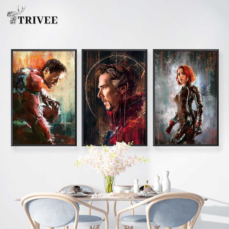 Wall Art พิมพ์โปสเตอร์ภาพวาดผ้าใบภาพผนังสำหรับตกแต่งบ้าน Marvel Avengers Superhero Deadpool Iron Spider Man LOKI