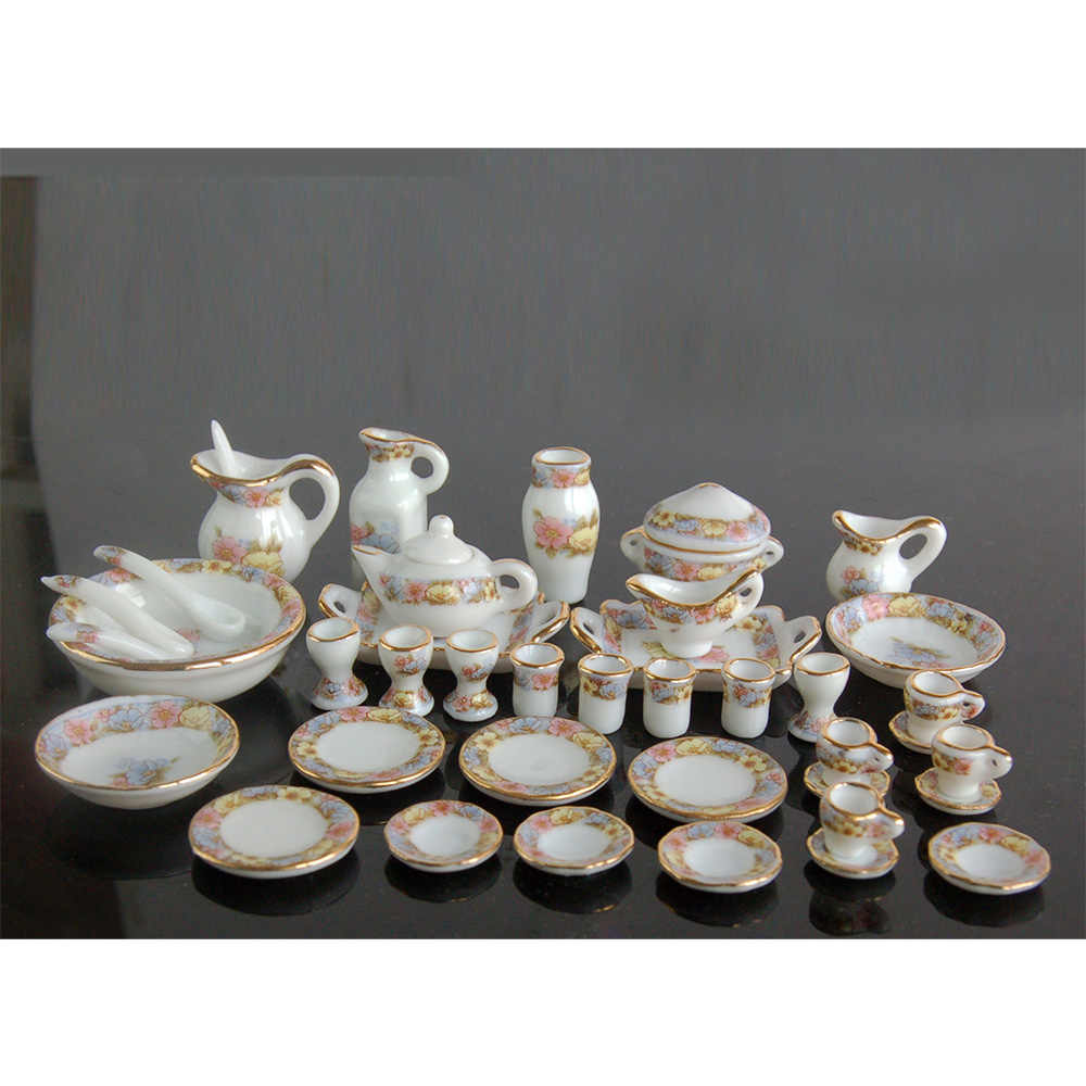 1/12 Dollhouse Miniature Dining Ware Porcelain Tea Set Dish Cup Plate 40pcs DC043