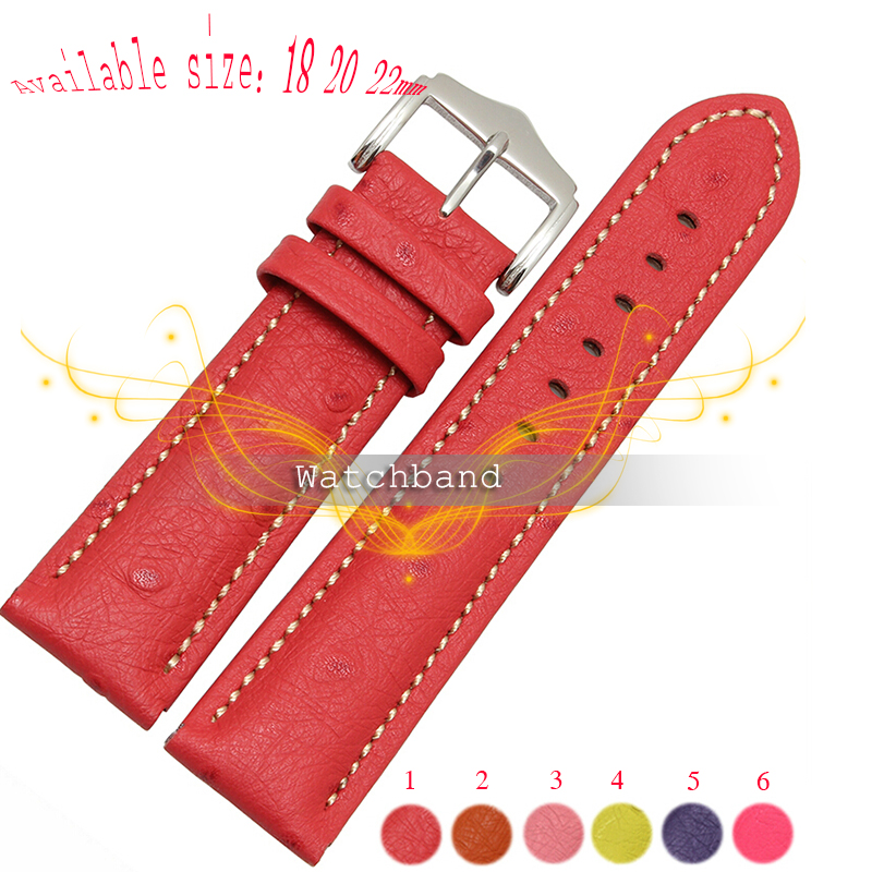 Free shipping Durable ostrich grain band women Genuine Leather watch strap for women 18mm 20mm 22mm