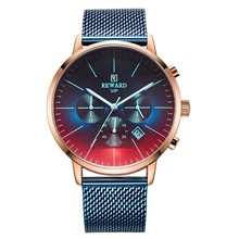 2009 Fashion Luxury Men's Watch Quartz Ultra-thin Tri-eye Multifunctional Mesh Strip Glazing Glass