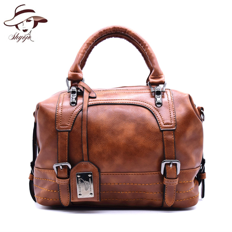 New Fashion Oil Wax Leather Women Bags Handbags Vintage Shoulder Bag Female High Quality Famous Brand Purse Bolsa Feminina Tote new fashion women bags women s solid pu leather handbags cross body shoulder bags female vintage messenger bag bolsa feminina