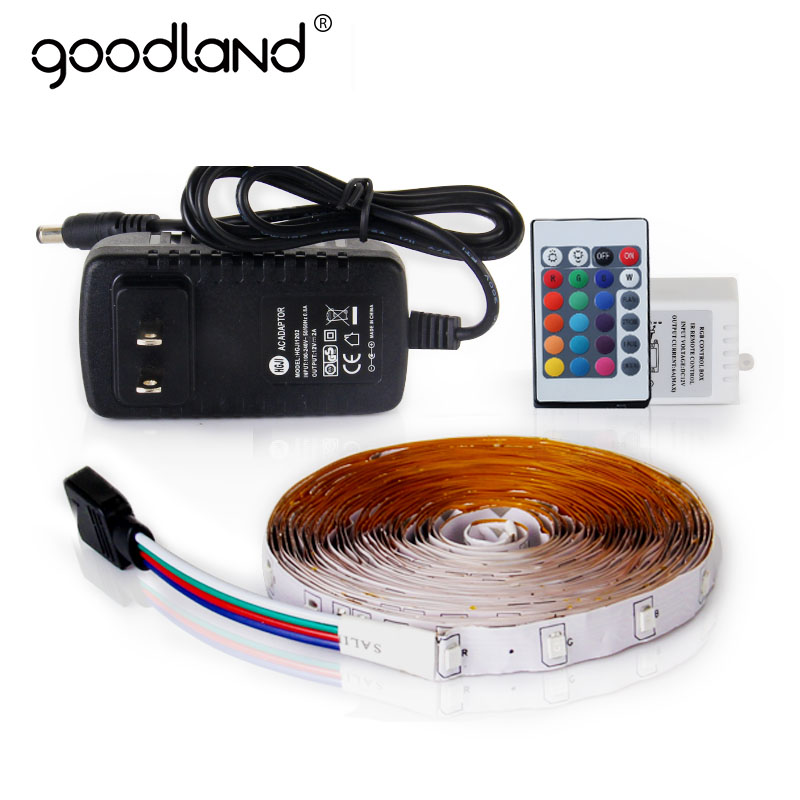 Goodland RGB LED Strip Light 2835 SMD 5M Fleksibel Lys LED Tape IR Fjernkontroll 12V 2A Strømadapter Innredningslampe
