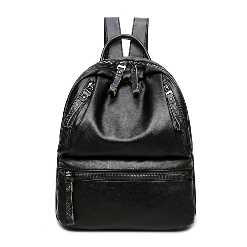 S P L 2017 hot sale black leather women backpack bag solid casual backpack foryouth girls