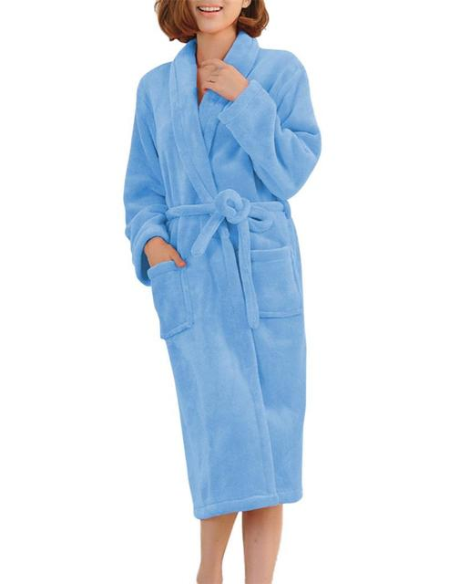 Bathrobes Women Robe Autumn Winter Warm Long Sleeve Flannel Robe Female Sleepwear Lounges Homewear Pyjamas
