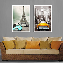 2Pic/set Paris City landmarks and Cars Modern Painting HD Prints on Canvas Wall art for living room Canvas Printings Home Decor famous artist mirro painting canvas printings picture hd prints canvas modern abstract wall art for living room hotel decoration