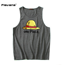 Flevans Men's Summer Cotton Body Building and Fitness Tank Tops Anime One Piece Monkey D Luffy Print Vests Brand Clothing