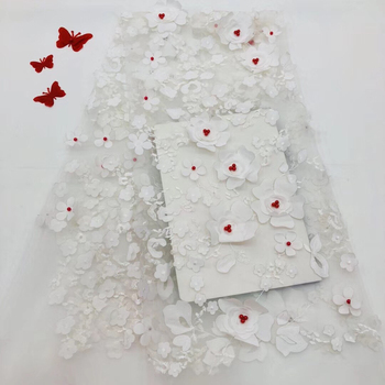 White flower 3D lace fabric with flowers, bridal lace fabric, French lace fabric fashion Nigeria lace RF2712