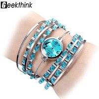 GEEKTHINK Brand NEW Bracelet Watch Women Ladies Casual Dress Steel Band Bangle Clock Female Girls Trending