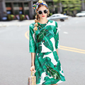 2016 Autumn Fashion Sequins Beading Bees Banana Leaf Printed Women Jacquard Tops Shirts + A-Line Skirt Two Piece Set Suit W744