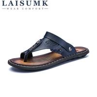 2018 LAISUMK Summer Sandals Men Outdoor Breathable Slippers Leather Men Beach Casual Sandalias Men Slip On Shoes Flip Flops