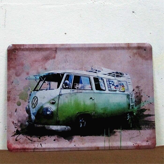 50 Stks Partij Metal Sign Shabby Chic Volkswagen Combi Bus Auto Tin