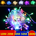 Разноцветная светодиодная гирлянда 20 м 30 м 50 м декоративная лампа для рождественской вечеринки свадьбы с 8 режимами отображения