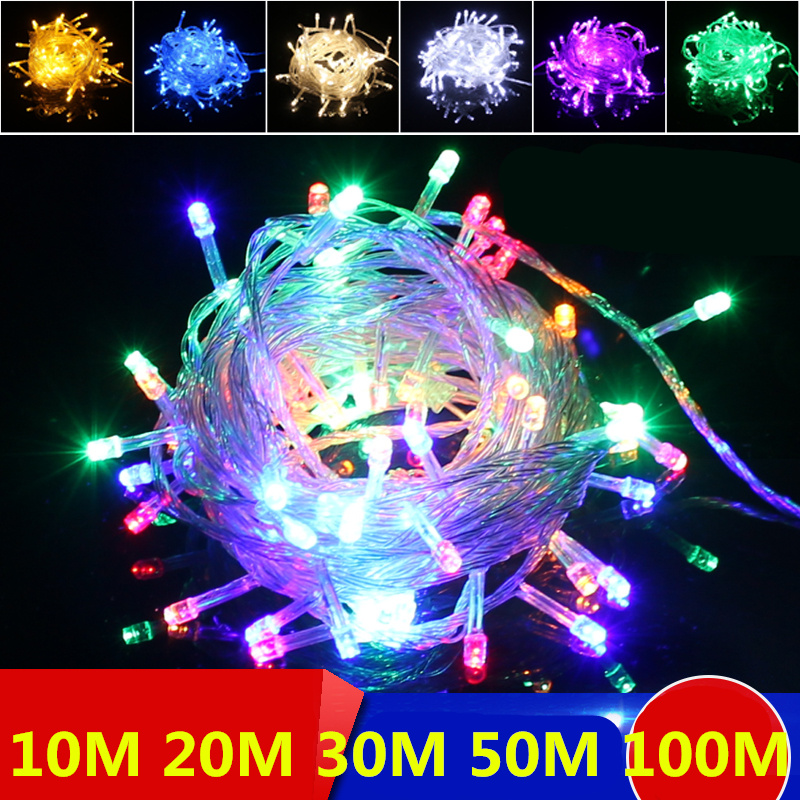 Multicolour LED String Light 20m 30m 50m Decoration Light For Christmas Party Wedding With 8 Display Modes Strip Light