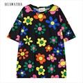 Hiawatha Flor Impresso Tops Para As Mulheres Harajuku O-pescoço Camisetas de Impressão Digital de Moda de Nova Solto T camisas da Cor do Contraste T2457