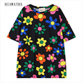 Hiawatha Flower Printed Tops For Women Harajuku O-neck Digital Printing T-shirts New Fashion Loose T shirts Contrast Color T2457