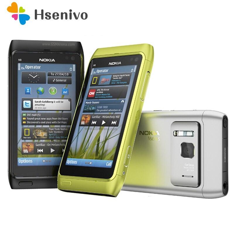 Оригинальный Nokia N8 Mobile телефон 3G Wi-Fi gps 12MP Камера 3,5 сенсорный экран 16 ГБ память дешевого телефона Восстановленное