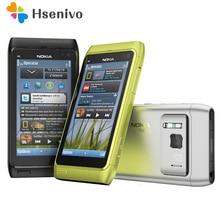 """100% Оригинал Nokia N8 мобильный телефон 3 г WI-FI GPS 12MP Камера 3.5 """"сенсорный экран 16 ГБ хранения дешевые телефон"""
