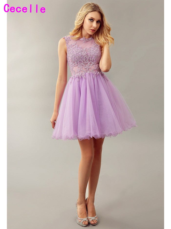 Lilac A line Short Juniors Cocktail Dresses Beaded Lace Open Back ...