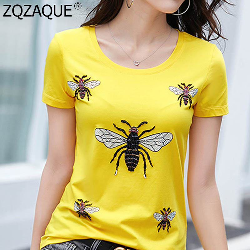 2019 New Arrival Trendy Summer T-Shirts Luxury Beading Diamonds Decor Bees Tee Women's All-Match Fashion Cotton Tops Pullovers