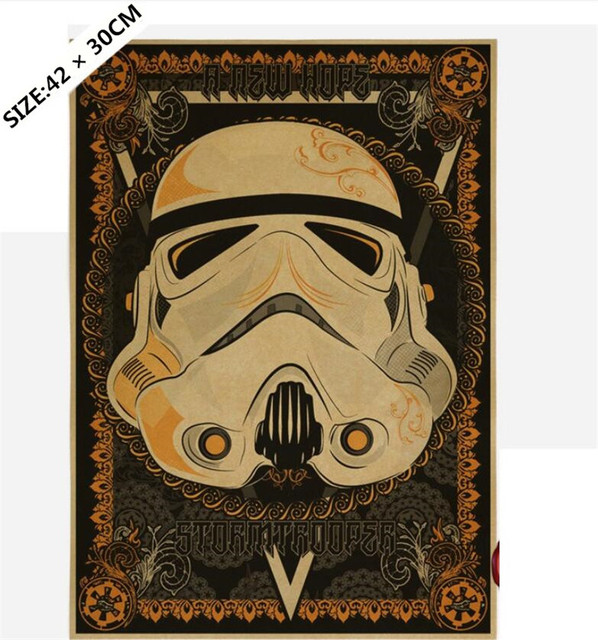 Retro Classic Movie Star Wars Darth Vader Luke Jedi Poster Cafe Bar Kraft Paper Wall Sticker