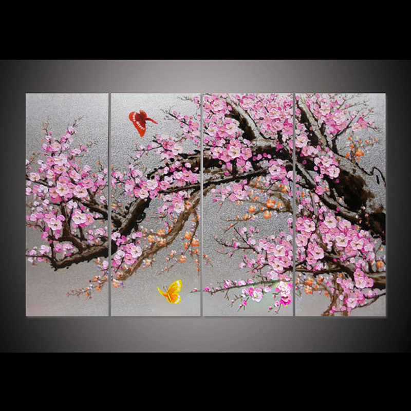 Hand-painted blooming pink plum blossom flower wall art picture4 pieces on set oil painting for  living room bedroom home decor Hand-painted blooming pink plum blossom flower wall art picture4 pieces on set oil painting for  living room bedroom home decor