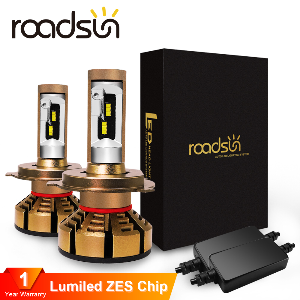 Roadsun H7 Led H4 With Lumileds Luxeon ZES Chips Car Headlight Bulbs H1 LED H11 H8 HB3 9005 HB4 9006 Auto Lamp 6000K 12V 12000LM