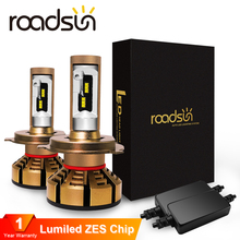 roadsun H7 Led H4 With Lumileds Luxeon ZES Chips Car Headlight Bulbs H1 LED H11 H8 HB3 9005 HB4 9006 Auto Lamp 6000K 12V 12000LM цена 2017
