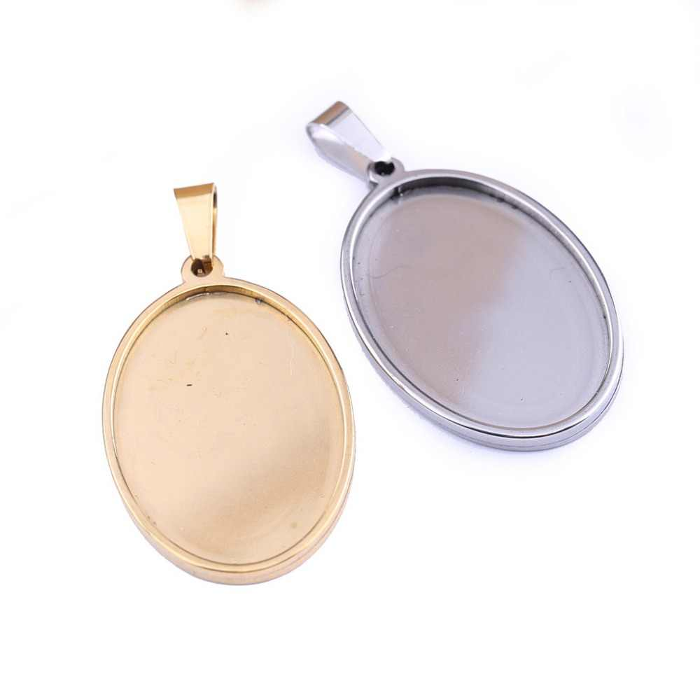 reidgaller 5pcs stainless steel oval cabochon tray 20x30mm dia gold plated pendant base settings diy blank jewelry bezels