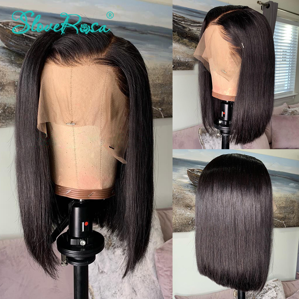 13x4 Lace Short Bob Wigs Peruvian 100% Remy Hair Can Be Dyed Lace Front Human Hair Wigs Pre-Plucked Bleached Knots Slove Rosa 4
